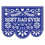 O melhor cartão do vetor do paizinho nunca, projeto mexicano do dia feliz do ` s do pai - decoração de Papel Picado nos azuis mar Imagens de Stock Royalty Free