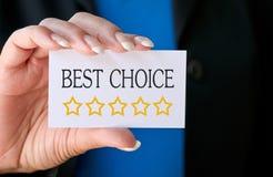 O melhor cartão bem escolhido Foto de Stock Royalty Free