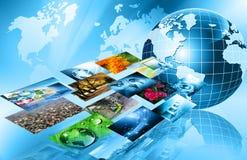 O melhor conceito do Internet do negócio global da série dos conceitos Conceito da tecnologia de produção da televisão e do Inter ilustração stock