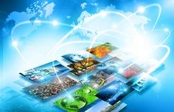 O melhor conceito do Internet do negócio global da série dos conceitos Conceito da tecnologia de produção da televisão e do Inter ilustração do vetor