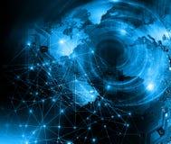 O melhor conceito do Internet do negócio global fundo tecnológico Irradia símbolos Wi-Fi, do Internet, televisão Imagem de Stock Royalty Free