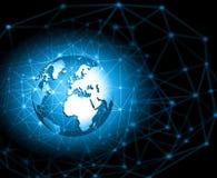 O melhor conceito do Internet do negócio global Globo, linhas de incandescência no fundo tecnologico Eletrônica, Wi-Fi, raios Foto de Stock