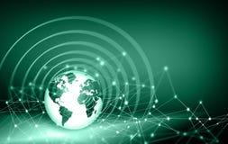 O melhor conceito do Internet do negócio global Globo, linhas de incandescência no fundo tecnologico Eletrônica, Wi-Fi, raios Fotos de Stock Royalty Free