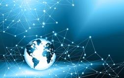 O melhor conceito do Internet do negócio global Globo, linhas de incandescência no fundo tecnologico Eletrônica, Wi-Fi, raios Imagem de Stock