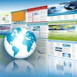 O melhor conceito do Internet do negócio global Globo, linhas de incandescência no fundo tecnologico Eletrônica, Wi-Fi, raios Imagens de Stock Royalty Free