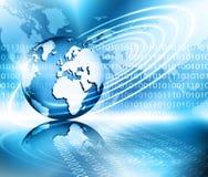 O melhor conceito do Internet do negócio global Globo, linhas de incandescência no fundo tecnologico Eletrônica, Wi-Fi, raios Fotografia de Stock Royalty Free