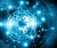 O melhor conceito do Internet do negócio global Globo, linhas de incandescência no fundo tecnologico Eletrônica, Wi-Fi, raios Imagem de Stock Royalty Free