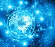 O melhor conceito do Internet do negócio global Globo, linhas de incandescência no fundo tecnologico Eletrônica, Wi-Fi, raios Imagens de Stock