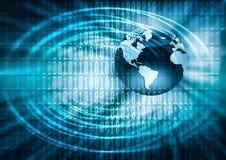 O melhor conceito do Internet do negócio global Globo, linhas de incandescência no fundo tecnologico Wi-Fi, raios, símbolos Imagens de Stock