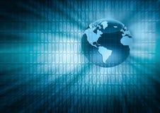 O melhor conceito do Internet do negócio global Globo, linhas de incandescência no fundo tecnologico Wi-Fi, raios, símbolos Imagem de Stock