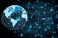 O melhor conceito do Internet do negócio global Globo, linhas de incandescência no fundo tecnologico Wi-Fi, raios, símbolos Fotografia de Stock