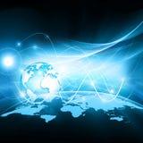 O melhor conceito do Internet do negócio global Globo, linhas de incandescência no fundo tecnologico Wi-Fi, raios, símbolos Imagem de Stock Royalty Free