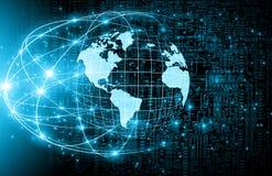 O melhor conceito do Internet do negócio global Globo, linhas de incandescência no fundo tecnologico Wi-Fi, raios, símbolos Foto de Stock