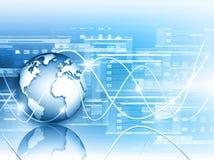 O melhor conceito do Internet do negócio global Globo, linhas de incandescência no fundo tecnologico Wi-Fi, raios, símbolos Fotografia de Stock Royalty Free