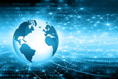 O melhor conceito do Internet do negócio global Globo, linhas de incandescência no fundo tecnologico Wi-Fi, raios, símbolos Imagens de Stock Royalty Free