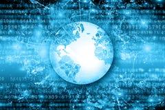 O melhor conceito do Internet do negócio global Globo, linhas de incandescência no fundo tecnologico Wi-Fi, raios, símbolos Foto de Stock Royalty Free