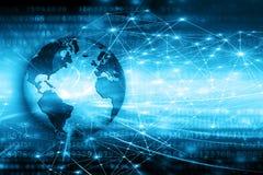 O melhor conceito do Internet do negócio global Globo, linhas de incandescência no fundo tecnologico Wi-Fi, raios, símbolos Fotos de Stock Royalty Free