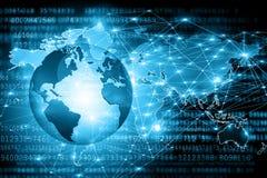 O melhor conceito do Internet do negócio global Globo, linhas de incandescência no fundo tecnologico Wi-Fi, raios, símbolos Fotos de Stock