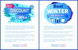O melhor disconto -30 fora da venda do inverno etiqueta cartazes Fotografia de Stock Royalty Free