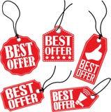 O melhor grupo da etiqueta da oferta, ilustração do vetor Fotos de Stock Royalty Free