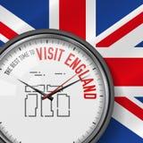 O melhor momento para a visita Inglaterra Pulso de disparo branco do vetor com slogan Fundo britânico da bandeira Relógio análogo ilustração royalty free