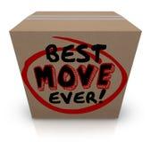 O melhor movimento que embala nunca casa nova movente da caixa de cartão Fotografia de Stock