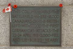O memorial WW1 canadense perto de Ypres fotografia de stock royalty free