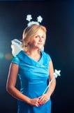 O menina-fairy em um vestido azul Imagem de Stock