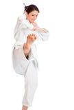 O menina-lutador no quimono fotos de stock