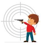 O menino é contratado em um tiro da pistola dos esportes ilustração do vetor