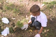 O menino é plantas primeiras de um graduador um a árvore de cedro perto da escola no parque fotografia de stock