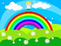 O menino alegre está em um arco-íris Fotos de Stock Royalty Free