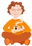 O menino bebe o café. Foto de Stock