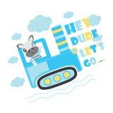 O menino bonito da zebra conduz a ilustração dos desenhos animados do carro do trator para o projeto do fundo do t-shirt da crian Fotos de Stock