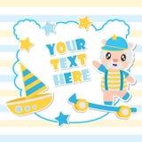O menino bonito e os brinquedos dos carneiros moldam a ilustração dos desenhos animados para o projeto de cartão da festa do bebê Imagem de Stock
