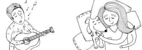 O menino canta uma menina da música com um cão Foto de Stock