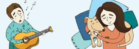 O menino canta uma menina da música com um cão Imagem de Stock