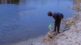 O menino cathcing as rãs no rio usando a natureza exterior líquida da borboleta que exploram filme