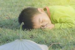 O menino colocado na grama Fotografia de Stock