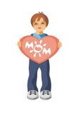 O menino com coração Fotografia de Stock