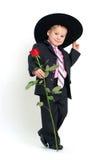 O menino com levantou-se Fotografia de Stock Royalty Free