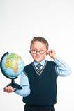 O menino com o globo Imagem de Stock Royalty Free