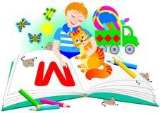 O menino com um gato aprende ler Ilustração para o livro do ` s das crianças Imagens de Stock