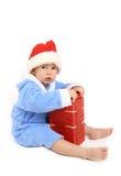 O menino com um presente Imagens de Stock Royalty Free