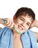 O menino com um tooth-brush. Imagem de Stock Royalty Free