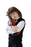 O menino com um violino imagem de stock royalty free