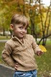 O menino com uma folha amarela de uma árvore Fotos de Stock