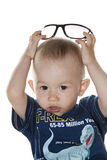 O menino com vidros Fotografia de Stock Royalty Free