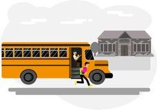 O menino corre à escola, pegando fora o ônibus, escola, jarda de escola ilustração royalty free