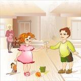 O menino dá a flor da menina Fotos de Stock Royalty Free